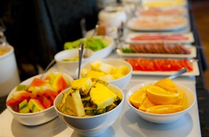 Fresh fruit at the breakfast buffet